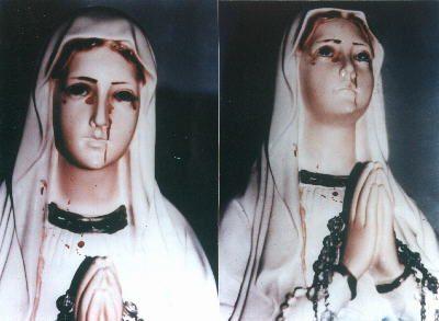 Sanamu ya Madonna inalia damu ya mwanadamu. Picha inazunguka kwenye wavuti