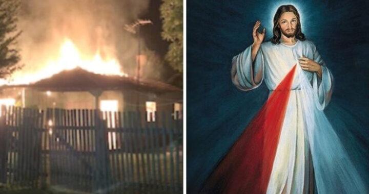 Il fuoco distrugge la casa ma l'immagine della Divina Misericordia resta intatta (FOTO)