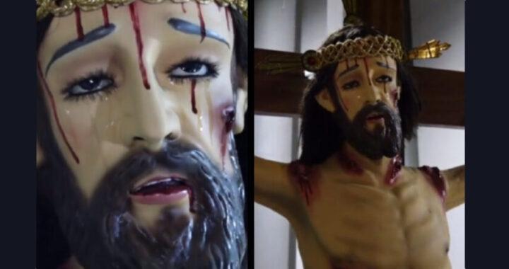 """Statua di Cristo piange al funerale del sacerdote: """"Sembrava che fosse vivo"""" (VIDEO)"""