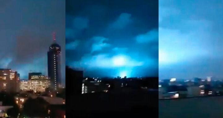 """地震期間天空中的藍色燈光,""""這是天啟"""",我們所知道的(視頻)"""