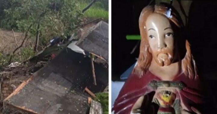 Statua del Sacro Cuore salva una bambina dopo un crollo, il racconto del nonno