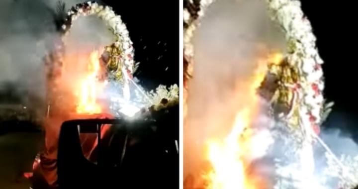 Statua della Madonna della Mercede prende fuoco durante una processione (VIDEO)