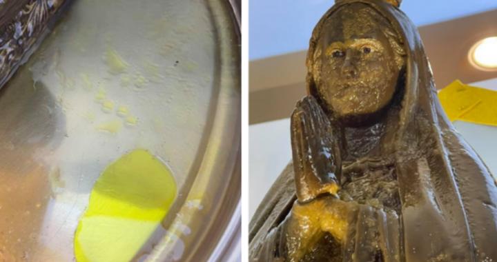 Statua della Madonna piange lacrime di miele, c'è il video del prodigio